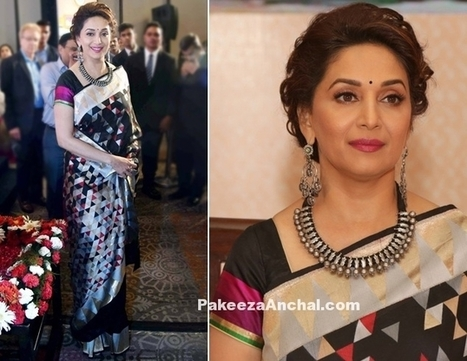 Madhuri Dixit in Digital Print Saree with Short Blouse | Indian Fashion Updates | Scoop.it