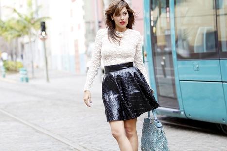 Look lady con falda de cuero y blusa de encaje | Fashion | Scoop.it