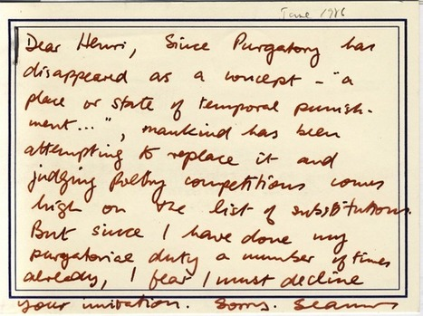 From the Archive: Seamus Heaney's Postcard | Academy of American Poets | Seamus Heaney - In Memoriam | Scoop.it