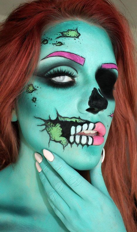 maquillage zombie en pop art deguisements. Black Bedroom Furniture Sets. Home Design Ideas