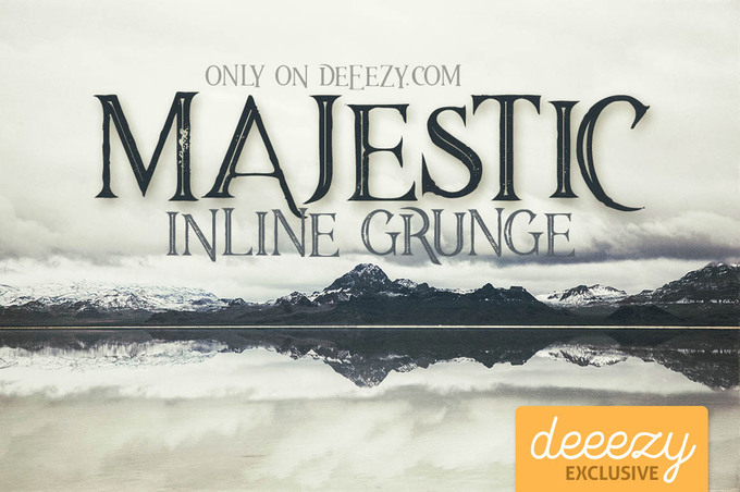 Majestic Inline Grunge Font – Deeezy – Freebies with Extended License