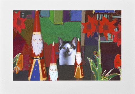 Handmade Cat Christmas Card: Cat With Santas | Deborah Julian Art | Christmas Cat Ornaments and Cards | Scoop.it