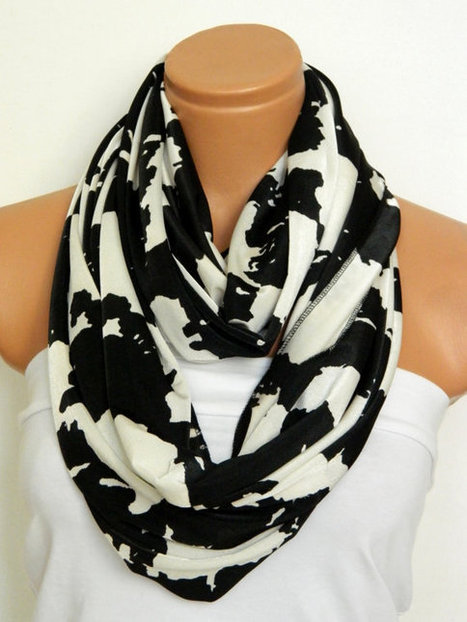 Infinity Scarf,jersey Loop Scarf,Circle Scarf, Black,White jersey fabric Scarf,Cowl Scarf,Nomad Cowl. by WomensScarvesTrend | women fashion | Scoop.it