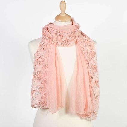 Foulard en dentelle rose pâle   Accessoires de mode femme   Scoop.it