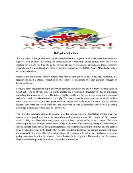 IB Physics Online Tutor | IB Global Academy | Scoop.it