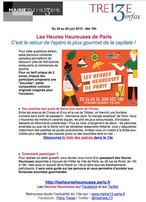 Les Heures HEUREUSES de Paris ...  C'est le retour de l'apéro le plus gourmet de la capitale ! | Le BONHEUR comme indice d'épanouissement social et économique. | Scoop.it