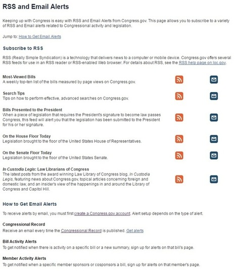 New Email Alerts and RSS Feeds on Congress.gov | RSS Circus : veille stratégique, intelligence économique, curation, publication, Web 2.0 | Scoop.it