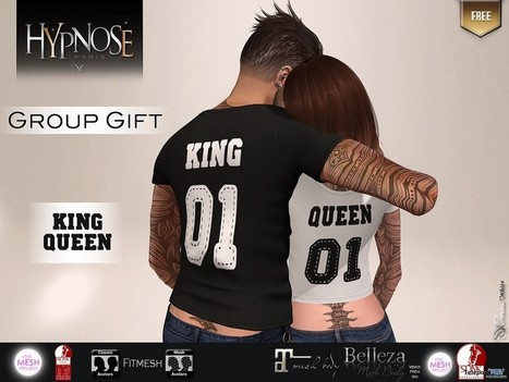 King & Queen Couple T-Shirt Group Gift by HYPNOSE   Secondlife freebies   Scoop.it