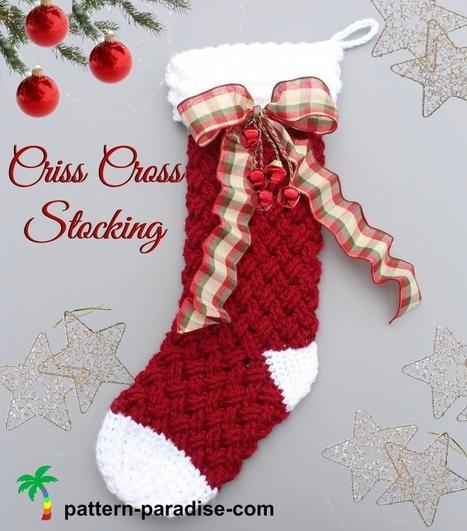 New Crochet Pattern - Criss Cross Crochet Stocking - Pattern Paradise | Free Crochet Patterns | Scoop.it