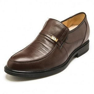 Europe brown leather height increasing slip on formal shoes get taller 5.5cm / 2.17 inch on sale at topoutshoes.com | Elevator Casual shoes men height increasing Taller | Scoop.it