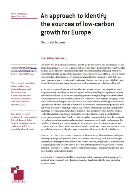 An approach to identify the sources of low-carbon growth for Europe | Géopolitique de l'Europe | Scoop.it