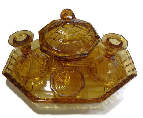 Beautiful Art Deco amber glass dressing table set | Retrofanattic's articles and items for sale | Scoop.it