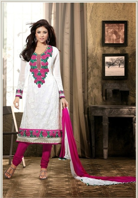 Gravity Fashion - Elegant Off White & Pink Salwar Kameez | If loving Fashion is a Crime, We Plead Guilty | Scoop.it