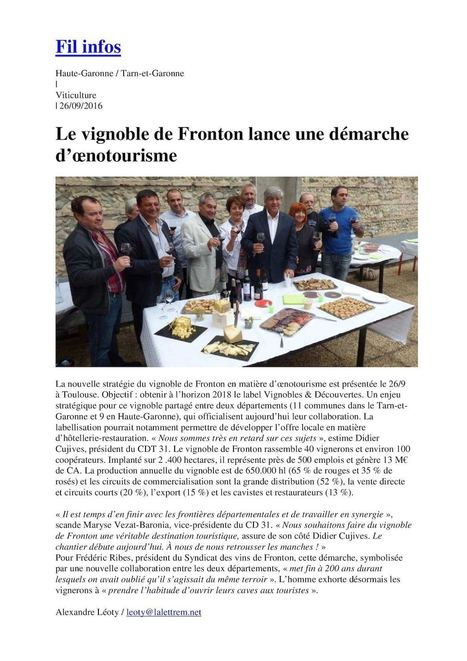 La Lettre M : Le vignoble de Fronton lance une démarche oenotourisme | Gîtes de France 31 | Scoop.it