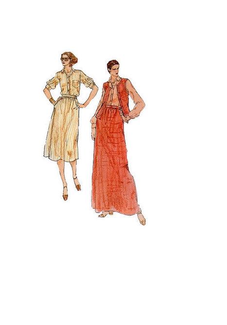 Vogue American Designer Calvin Klein 80s Sewing Pattern Shirt Vest Skirt Casual Fashion Maxi Midi Length Uncut Bust 32 | Fashion History | Scoop.it