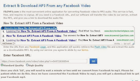 How to convert Facebook video to MP3 ~ Facebook Tips and Tricks | Facebook | Scoop.it