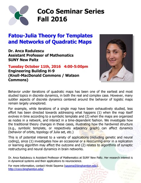 Next CoCo seminar on Tue Oct 11 by Anca Radulescu (SUNY New Paltz) | Center for Collective Dynamics of Complex Systems (CoCo) | Scoop.it