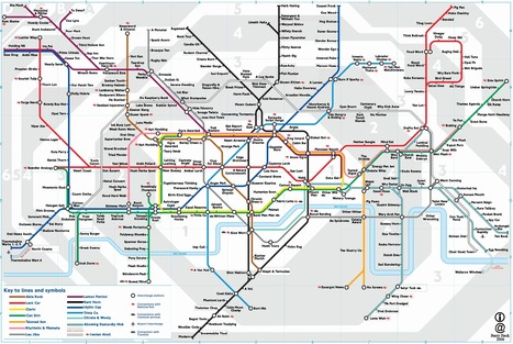 London Underground anagram map (place cursor over anagram to see name) | Underground tunnels | Scoop.it