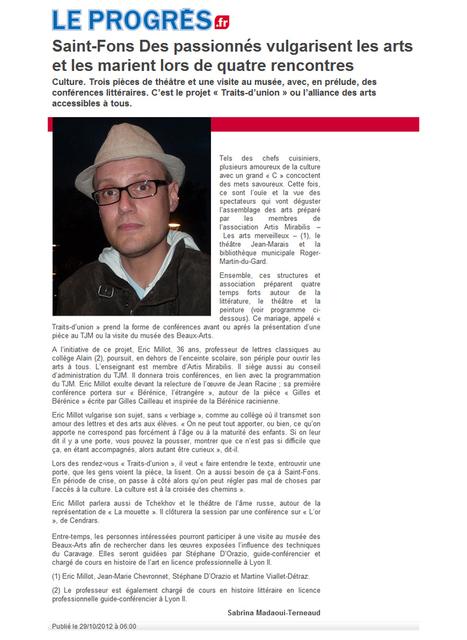 Saint-Fons : des passionnés vulgarisent les arts et les marient lors de quatre rencontres | octobre 2012 | Le Progrès | ARTIS MIRABILIS : toute la revue de presse | Scoop.it