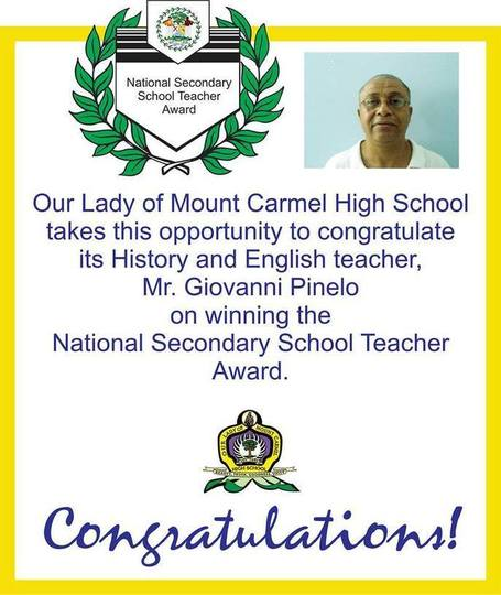 Mr. Giovanni Pinelo is Teacher of the Year | Cayo Scoop!  Bestofcayo.com's E-mag. | Scoop.it