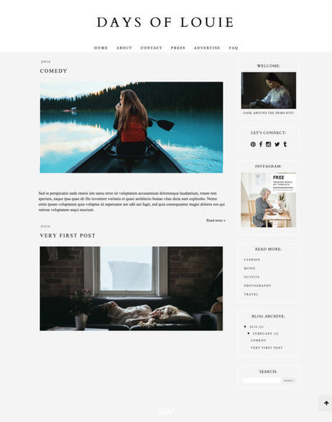 "Responsive Blogger Template ""Days of Louie"" / Instant Digital Download Premade Blog Theme Design 
