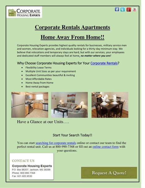 Corporate Rentals Apartments in Jackson MS |Feel Like Your Home!! | Corporate Housing Experts | Scoop.it
