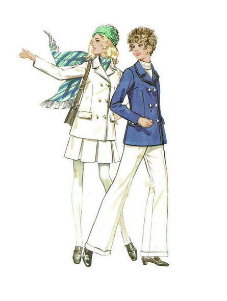 Butterick 5516 Sewing Pattern 1960s 70s Fashion Double Breasted Jacket Coat Pleated Skirt Cuffed Pants Trousers Size 12 Bust 34 | Vintage Sewing Patterns | Scoop.it