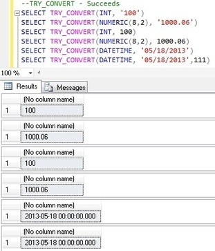 TRY_CONVERT CONVERSION FUNCTION IN SQL SERVER 2012 | MySQL | Scoop.it