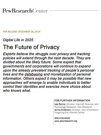 Elon Pew Future of the Internet Survey Report: Experts Predict Future of Security/Privacy 2025 | Interdependence | Scoop.it