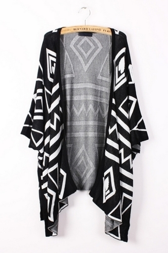 Geometry Graphic Batwing Cardigan - OASAP.com | Sweaters and Cardigans | Scoop.it
