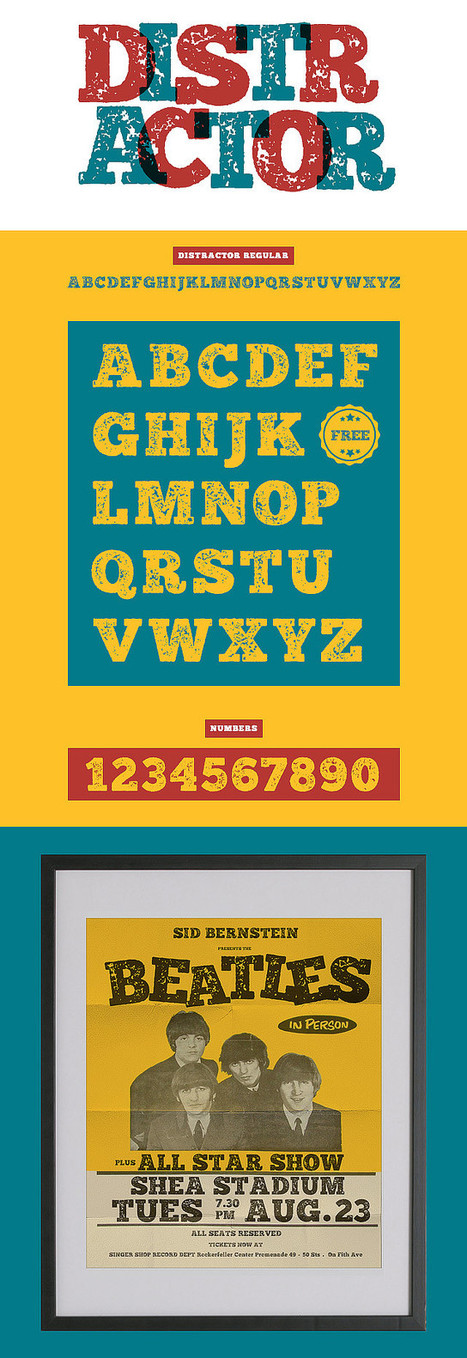 Slab serif typeface Distractor download this old letterpress font free | My Typefaces | Scoop.it