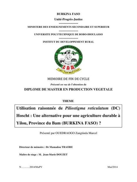Agroforesterie avec le Nguiguiss :  Mémoire Master de Zangtinda Marcel OUEDRAOGO au Burkina Faso. Paru en 2014 | l'agronomie              en thèses | Scoop.it