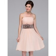 [US$ 87.49] A-Line/Princess Strapless Knee-Length Chiffon Bridesmaid Dress With Sash Flower(s) (007037256)   wedding time   Scoop.it