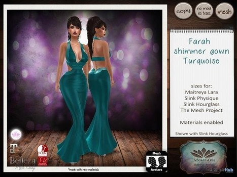Farah Lame Gown Turquoise Group Gift by The Beautiful Ones | Teleport Hub - Second Life Freebies | Second Life Freebies | Scoop.it