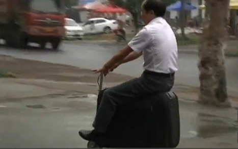 Chinese farmer invents battery-powered suitcase scooter | Strange days indeed... | Scoop.it