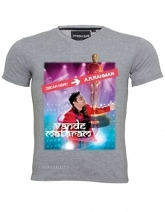 A.R. Rahman Fan Tshirt, Mens V- Neck T-shirt, Personalized T shirt, Oscar tshirt, Oscar award tees, AR Rahman is Oscar hero T shirt, vande mataram tshirt, Oscar statue T-Shirt, Oscar award Tees, Os... | Customized T-shirts | Scoop.it