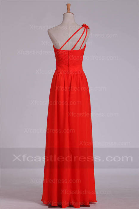 Floral One Shoulder Ruched Chiffon Long Red Bridesmaid Dresses BRXF36 | women fashion dresses | Scoop.it