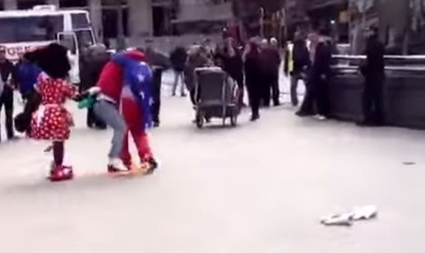 CARTOON COSTUMED CHARACTER CONFLICT in Madrid - Mickey and Minnie Mouse duke it out with heckler in street brawl - Metro | SILLY STREET | Scoop.it