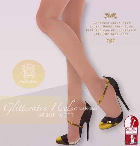 Glitteratin Heels Gold Edition For Slink Feet Group Gift by Milk Tea | Teleport Hub - Second Life Freebies | Second Life Freebies | Scoop.it