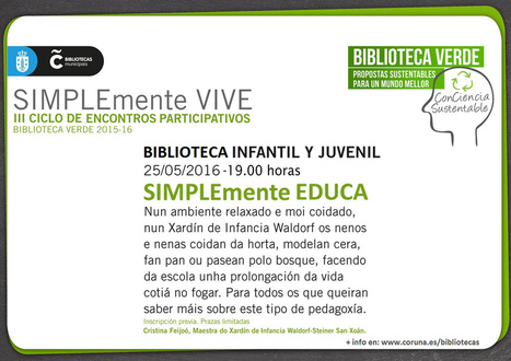 Cartel da charla SIMPLEmente EDUCA   Biblioteca Verde   Scoop.it
