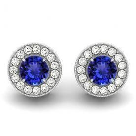 .44ctw Round Tanzanite Earring With .16ctw Diamonds in 14k White Gold | Tanzanite Earrings | Scoop.it