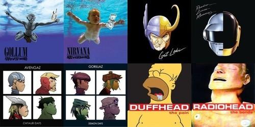 25 pochettes d'albums célèbres revisitées avec des personnages de la pop culture