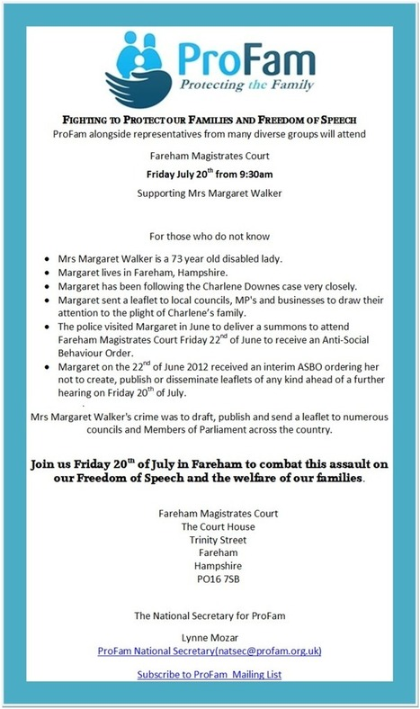 Profam Call to Action for Margaret Walker in Fareham 20 July 2012 | The Indigenous Uprising of the British Isles | Scoop.it