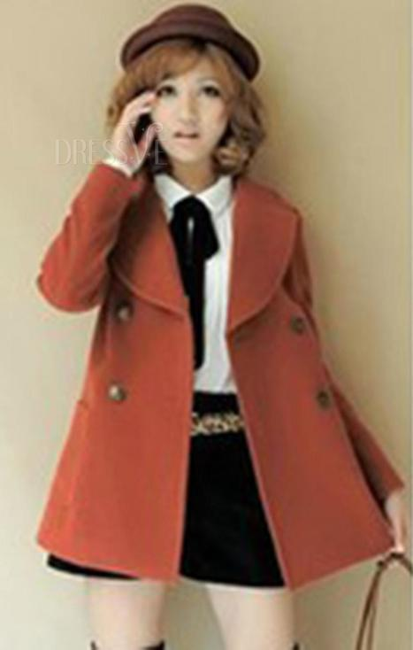 Brick Red Lapel Double Breasted Trench Coat | chouchou | Scoop.it