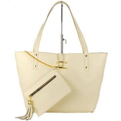 -1-   MADE IN ITALY Damen Handtasche, Bag in Bag Shopper, Echtleder, beige cremeweiss-gold | Clutch Bags Online | Scoop.it