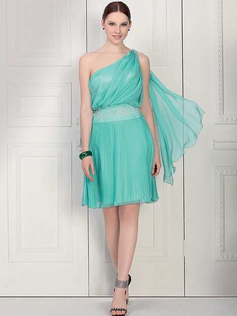 A-line One Shoulder Chiffon Knee-length Beading Cocktail Dresses at sweetquinceaneradress.com | SWEET 16 DRESSES | Scoop.it