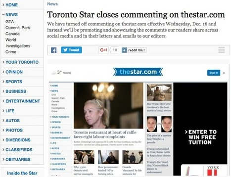 Toronto Star editor on why they decided to close comments on stories on thestar.com | J-Source | From Content Marketing to Brand Journalism | Scoop.it