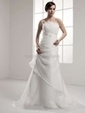 A-line Strapless Organza Court Train Ruched Wedding Dresses - www.millybridal.com | wedding and event | Scoop.it