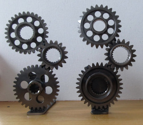 Ductalk Motorcycle Art Spotlight | TabDesign | Motorcycle Gear Bookends by TabDesign | Etsy | Ductalk Ducati News | Scoop.it