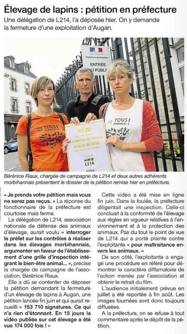 Élevage de lapins : pétition en préfecture / Ouest France   Lapins - Revue de presse L214   Scoop.it